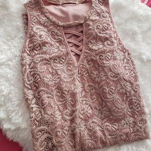 Pink scalloped lace dress size medium
